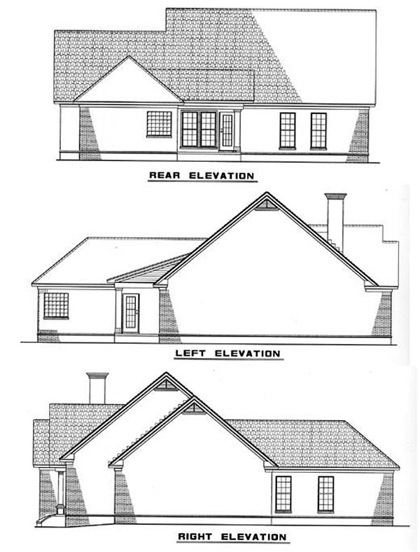One-Story Ranch Rear Elevation of Plan 82012