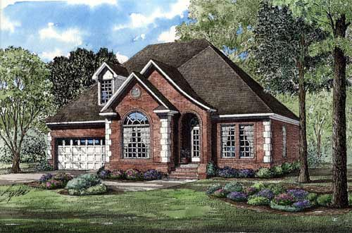 European House Plan 82013 with 3 Beds, 3 Baths, 2 Car Garage Elevation