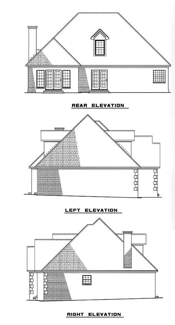 European House Plan 82013 with 3 Beds, 3 Baths, 2 Car Garage Rear Elevation