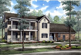 Colonial , Farmhouse , Southern House Plan 82015 with 4 Beds, 3 Baths, 2 Car Garage Elevation