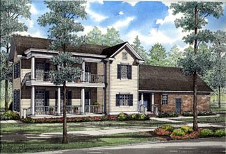Colonial Farmhouse Southern House Plan 82015 Elevation