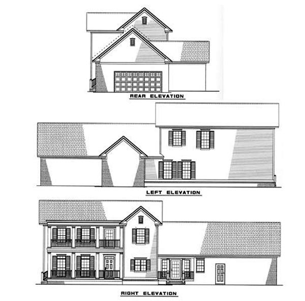 Colonial Farmhouse Southern House Plan 82015 Rear Elevation