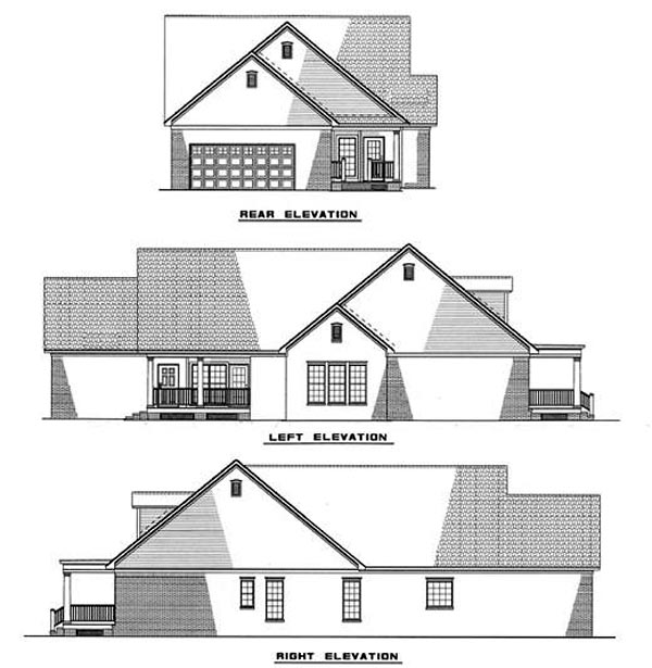 Cape Cod, Country House Plan 82017 with 3 Beds, 2 Baths, 2 Car Garage Rear Elevation