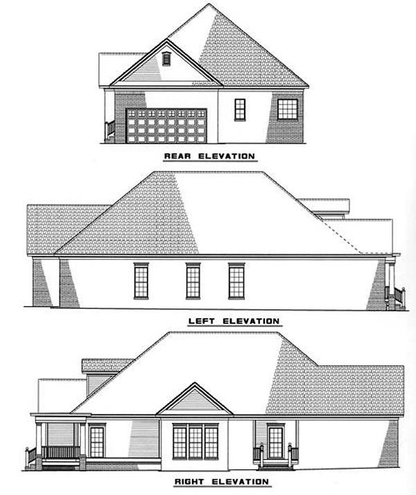 Country Rear Elevation of Plan 82019
