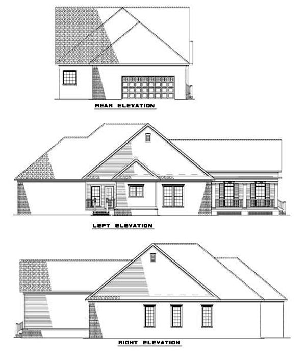 Country , Farmhouse , Rear Elevation of Plan 82024