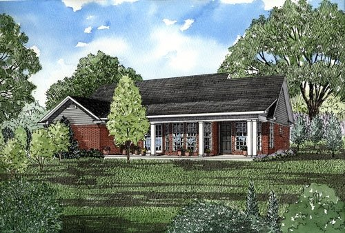 Ranch House Plan 82026 with 3 Beds, 2 Baths, 2 Car Garage Rear Elevation