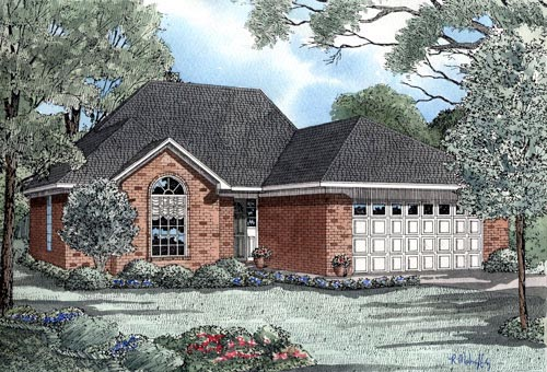 European House Plan 82027 with 3 Beds, 2 Baths, 2 Car Garage Elevation
