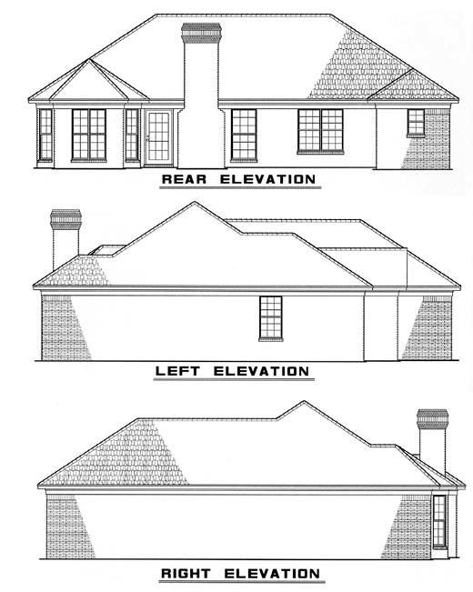 European House Plan 82027 Rear Elevation
