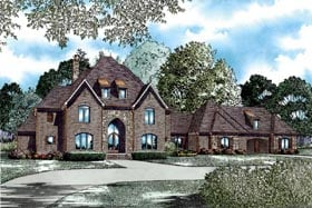 House Plan 82028 | Style Plan with 4380 Sq Ft, 3 Bedrooms, 5 Bathrooms, 3 Car Garage Elevation
