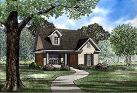 Cape Cod , Country House Plan 82029 with 2 Beds, 1 Baths, 2 Car Garage Elevation