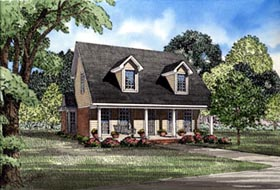 House Plan 82030 | Cape Cod Country Style Plan with 1541 Sq Ft, 3 Bedrooms, 2 Bathrooms, 2 Car Garage Elevation