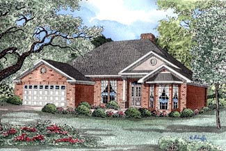 Traditional House Plan 82038 with 3 Beds, 2 Baths, 2 Car Garage Elevation