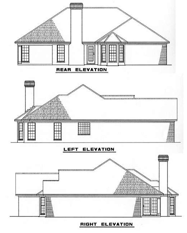 Traditional House Plan 82038 with 3 Beds, 2 Baths, 2 Car Garage Rear Elevation