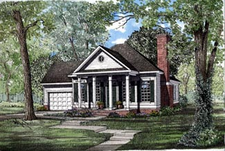 Colonial, European House Plan 82040 with 2 Beds, 2 Baths, 1 Car Garage Elevation