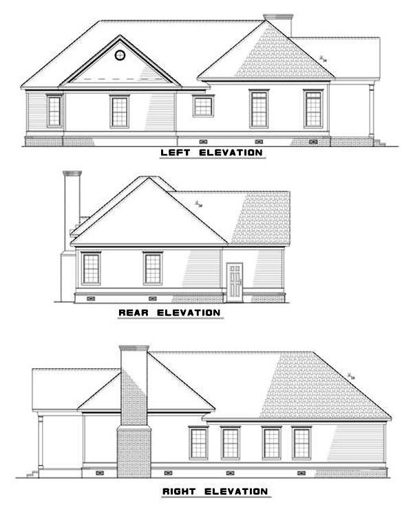 Colonial, European House Plan 82040 with 2 Beds, 2 Baths, 1 Car Garage Rear Elevation
