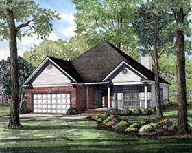 Ranch House Plan 82041 with 3 Beds, 2 Baths, 2 Car Garage Elevation