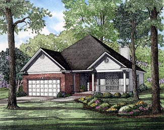 One-Story, Ranch House Plan 82041 with 3 Beds, 2 Baths, 2 Car Garage Elevation