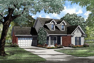 Cape Cod, Country House Plan 82043 with 3 Beds, 2 Baths, 2 Car Garage Elevation