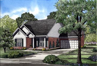 Ranch House Plan 82044 with 3 Beds, 2 Baths, 2 Car Garage Elevation