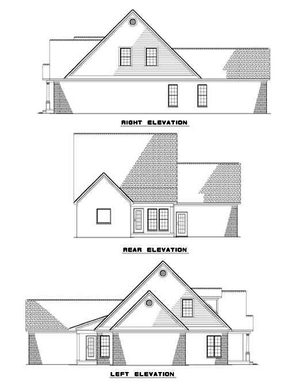 Country Rear Elevation of Plan 82047