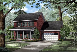 Colonial, Country House Plan 82048 with 3 Beds, 3 Baths, 2 Car Garage Elevation