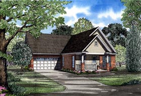 Ranch House Plan 82049 with 3 Beds, 2 Baths, 2 Car Garage Elevation