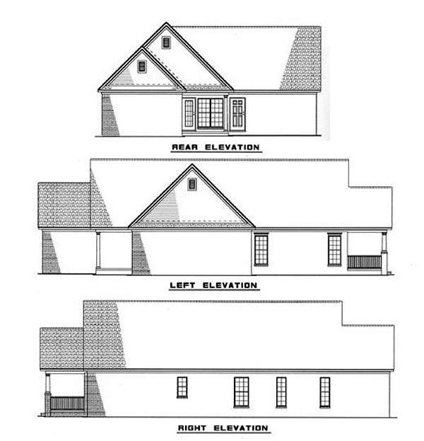 One-Story, Ranch House Plan 82049 with 3 Beds, 2 Baths, 2 Car Garage Rear Elevation