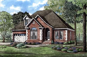 House Plan 82052 | European Style House Plan with 1990 Sq Ft, 3 Bed, 3 Bath, 2 Car Garage Elevation