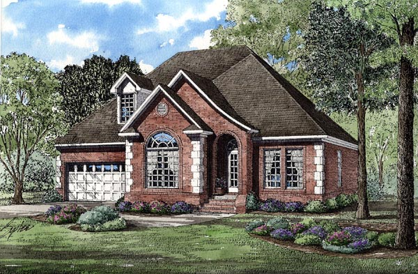 European House Plan 82052 with 3 Beds, 3 Baths, 2 Car Garage Elevation