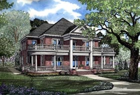 Colonial , Plantation House Plan 82054 with 3 Beds, 4 Baths, 3 Car Garage Elevation