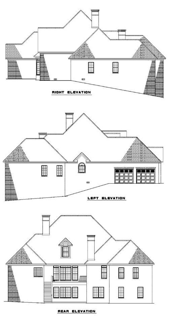 European House Plan 82055 Rear Elevation