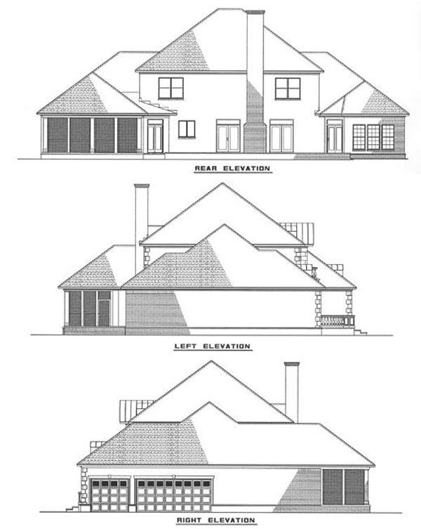 Contemporary European Modern Rear Elevation of Plan 82057