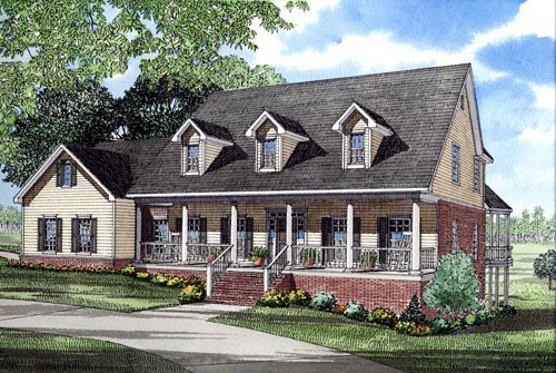 Cape Cod, Country House Plan 82058 with 5 Beds, 4 Baths, 3 Car Garage Elevation