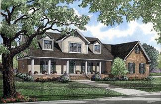 Colonial Country Farmhouse Elevation of Plan 82059