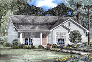 Cabin, Country, One-Story, Ranch House Plan 82064 with 3 Beds, 2 Baths Elevation
