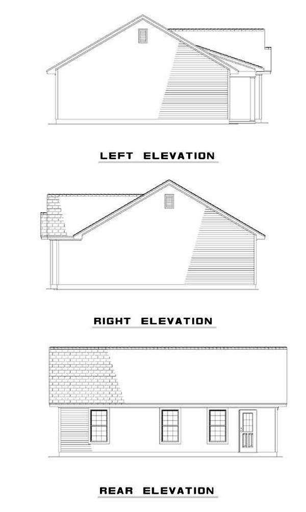 Cabin, Country, One-Story, Ranch House Plan 82064 with 3 Beds, 2 Baths Rear Elevation