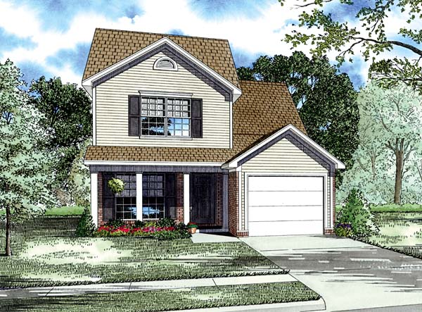 Colonial, Country, Narrow Lot, Traditional House Plan 82065 with 3 Beds, 3 Baths, 1 Car Garage Elevation