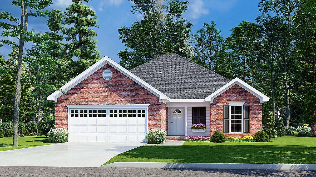 One-Story, Traditional House Plan 82068 with 3 Beds, 2 Baths, 2 Car Garage Elevation
