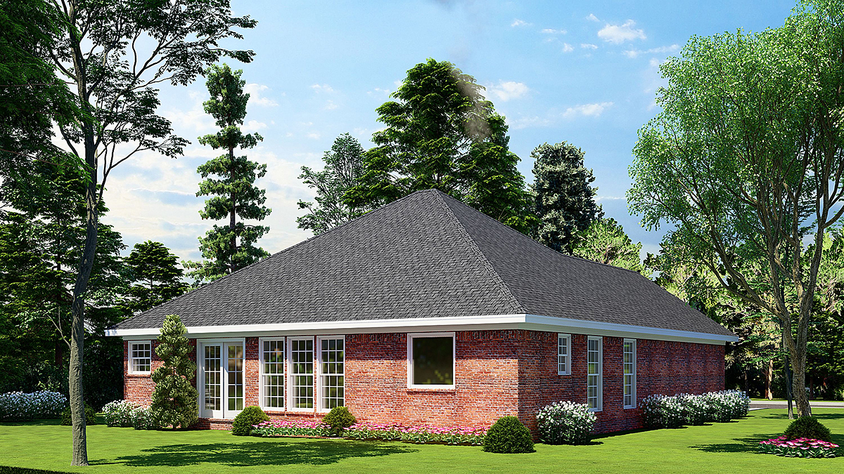 One-Story, Traditional House Plan 82068 with 3 Beds, 2 Baths, 2 Car Garage Rear Elevation