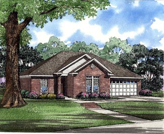 One-Story Traditional Elevation of Plan 82069