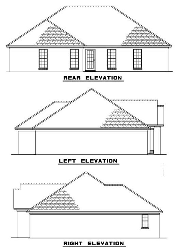 One-Story Traditional Rear Elevation of Plan 82069