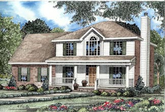 Colonial Country Southern Elevation of Plan 82073