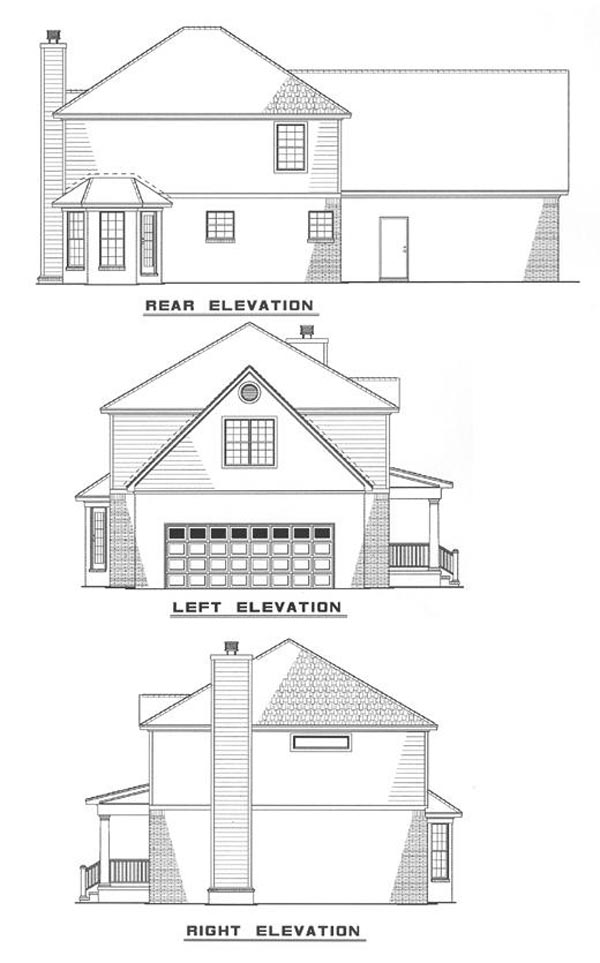 Colonial Country Southern Rear Elevation of Plan 82073
