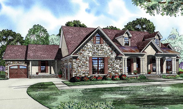 House Plan 82074 with 5 Beds, 3 Baths, 3 Car Garage Elevation