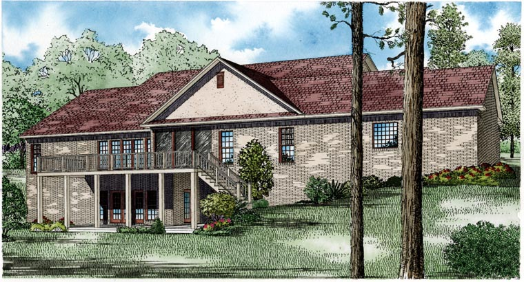 House Plan 82074 with 5 Beds, 3 Baths, 3 Car Garage Rear Elevation