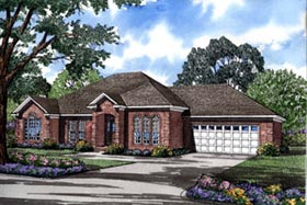 European House Plan 82080 with 3 Beds, 2 Baths, 2 Car Garage Elevation