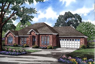European, One-Story House Plan 82080 with 3 Beds, 2 Baths, 2 Car Garage Elevation