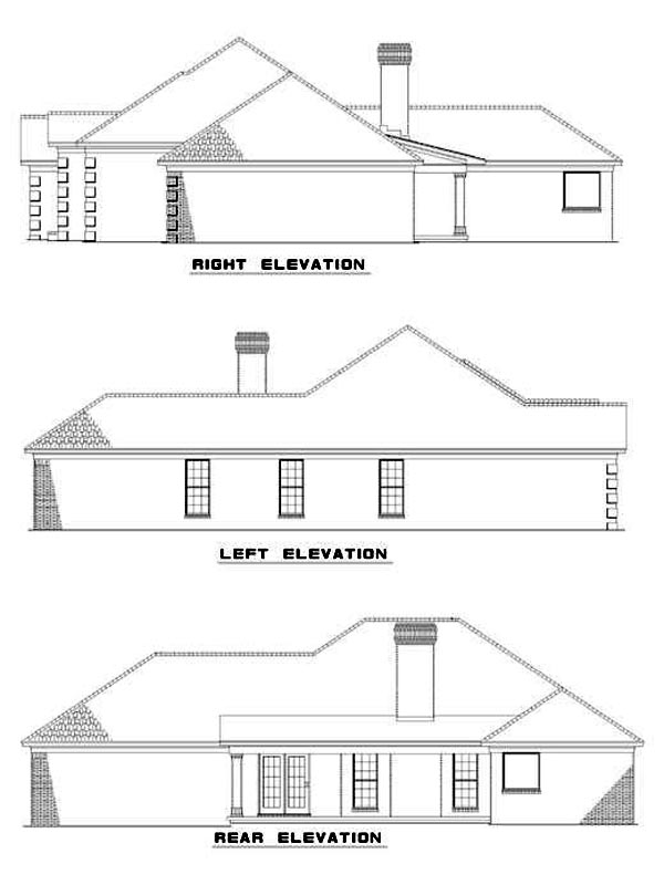 European, One-Story House Plan 82080 with 3 Beds, 2 Baths, 2 Car Garage Rear Elevation