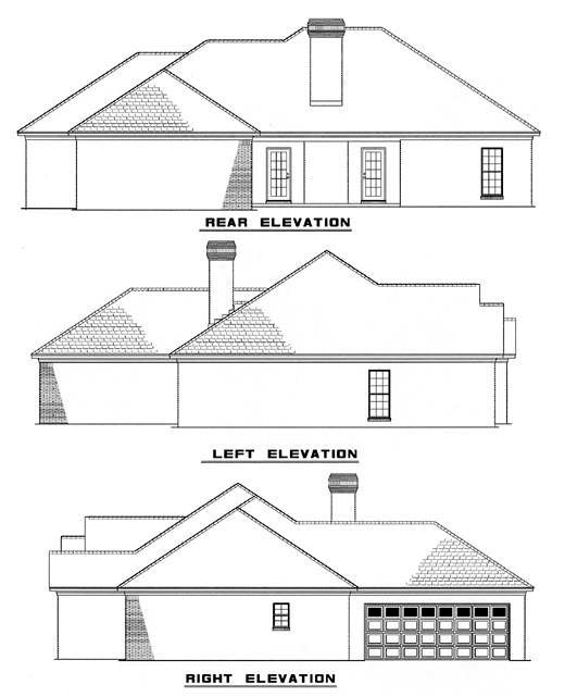 Traditional House Plan 82081 with 4 Beds, 2 Baths, 2 Car Garage Rear Elevation