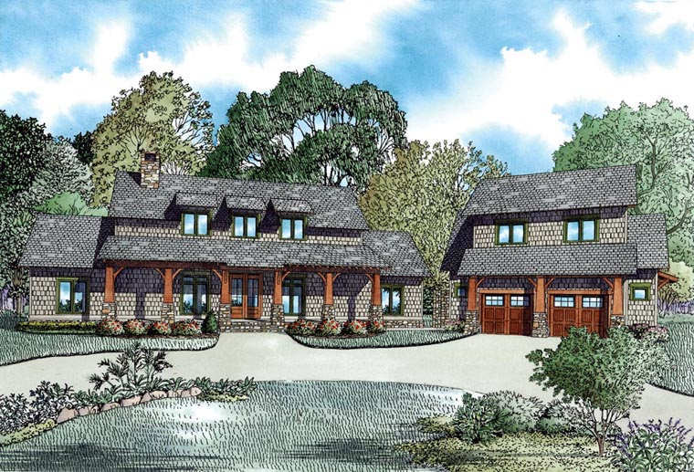 Country Craftsman Farmhouse Elevation of Plan 82085